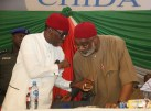 Delta State Governor, Senator Ifeanyi Okowa (left) and High Chief Sen. Ben Obi, at the Inauguration of PDP National Convention Organizing Committee, in Abuja. PIX . JIBUNOR SAMUEL