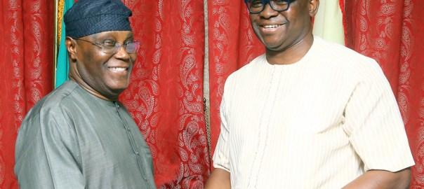 File photo of Atiku Abubakar and Ekiti State Governor, Ayodele Fayose