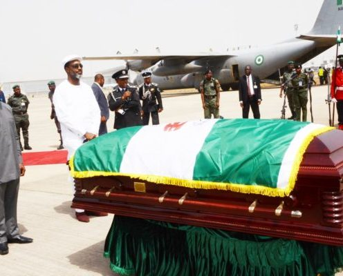Vice President Yemi Osinbajo receives remains of former Vice President, Alex Ekwueme [Photo Credit: NAN]