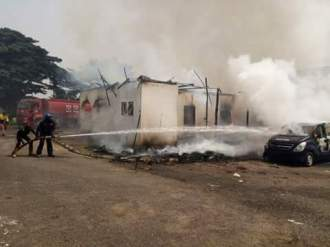 Imo Deputy Governor's house gutted by fire as officials try to put off the fire.