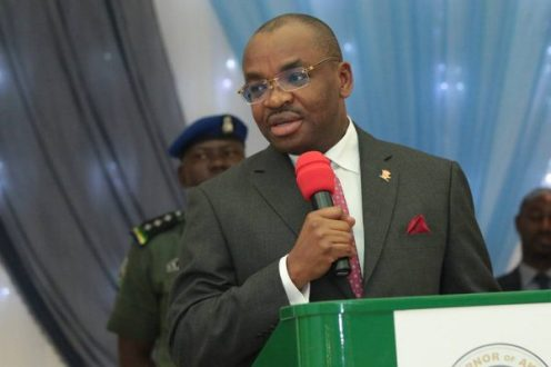 Governor Udom Emmanuel during the swearing-in of Dr. Emmanuel Ekuwem as the Secretary to the Akwa Ibom State Government, SSG.