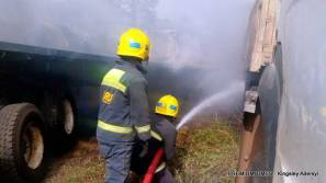 File photo of Fire service trying to put off the fire at a Lagos warehouse.