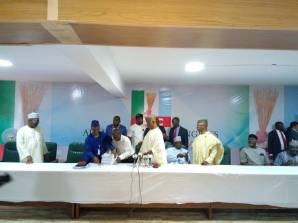 Restructuring committee chairman and Kaduna state governor, El-Rufai, APC chairman and others during the submission of the restructuring report. [Photo credit: Lois Ugbede - PREMIUM TIMES]