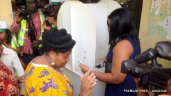 Mrs. Umeh and daughter casting their vote
