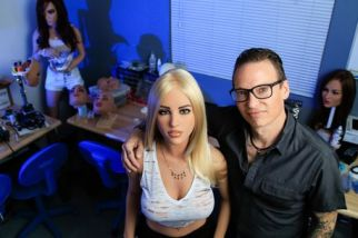 Man takes a selfie with sex doll