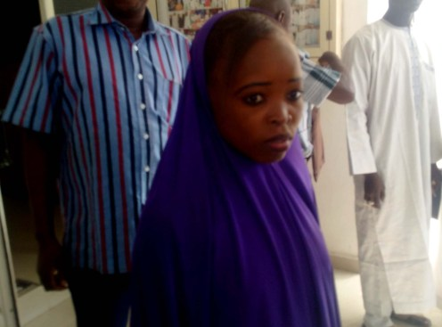 One of the abducted Chibok schoolgirls recently rescued by the troops, Salomi Pogu, during her formal handover to Borno Government by Nigerian Army in Maiduguri on Tuesday (9/1/18). 00142/9/1/2018/Rabiu Sani/BJO/NAN