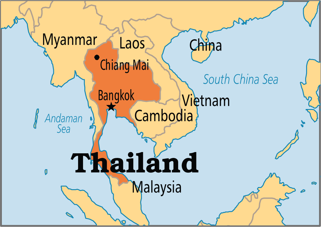 Thailand on Map used to illustrate the story