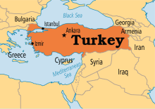 Turkey on map
