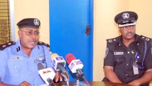 Kaduna the State Commissioner of Police, Mr. Agyole Abeh, left, with Deputy-Commissioner of Police Operations, Abdulrahman Ahmed, during a press briefing by the Kaduna State Police Commissioner of Kaduna on the planned protest by National Labour Congress (NLC) and Nigeria Union Teachers (NUT) in Kaduna.