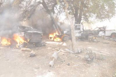Boko haram trucks on fire