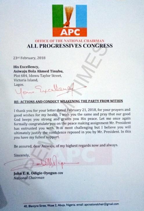 APC Chairman, John Odigie-Oyegun's letter