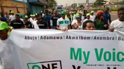 The rally took off at the National Stadium, Surulere, and ended at the INEC office in Lagos, where the organizers are addressing the audience.