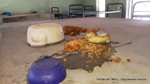Abandoned food in the deserted dormitory.