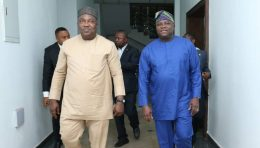 Lagos State Governor Mr. Akinwunmi Ambode (right), with his Enugu State counterpart, Mr. Ifeanyi Ugwuanyi during Gov. Ambode's courtesy visit to the Enugu State Government House, on Thursday, February 1, 2018.