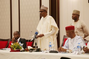 President Muhammadu Buhari (M) flanked by the Vice President Yemi Osinbajo and Naional Chairman Chef John Odigie Oyegun during the Party' 4th National Caucus Meeting held Monday night at the Presidential Villa Abuja. PHOTO; SUNDAY AGHAEZE. FEB 26 2018