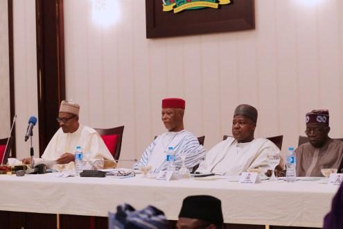 From Left: President Muhammadu Buhari, John Oyegun, Yakubu Dogara, Bola Tinubu