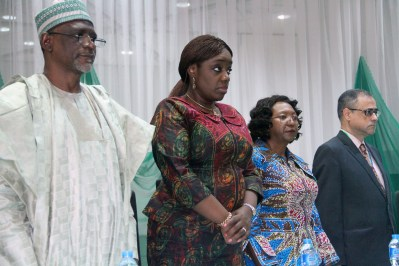 Honourable Minister of Education, Mallam Adamu Adamu (left); Honourable Minister of Finance, Mrs. Kemi Adeosun; representative of Nigeria's Executive Director on World Bank Board, Bongi Kunene and World Bank Country Director in Nigeria, Rachid Bennessaoud, during the launch of World Development Report 2018(WDR 18) by the World Bank Group in Abuja on Tuesday, 6th March, 2018