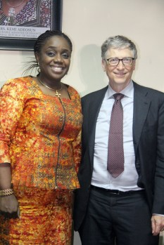 The Honourable Minister of Finance, Mrs. Kemi Adeosun with the Co-Chair of Bill and Melinda Gates Foundation, Mr. Bill Gates, during the visit of Gates to the Minister on vaccine financing and support for Nigeria's fiscal agenda in Abuja on Thursday, 22nd March, 2018