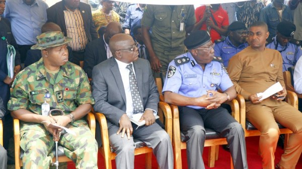 L-R: Commander 4 Brigade, Nigerian Army, Major General Ibrahim Garba; State Director, Department of State Security, Halilu Ibrahim; Commissioner of Police, Edo State, Mr. Johnson Kokumo; and Commissioner for Wealth Creation, Cooperatives and Employment, Hon. Emmanuel Usoh, at the Security Town Hall meeting held with security chiefs in the state, elders and other members of different communities in and around Ugboha, at the Esan South East Local Government Area Secretariat, Ubiaja.