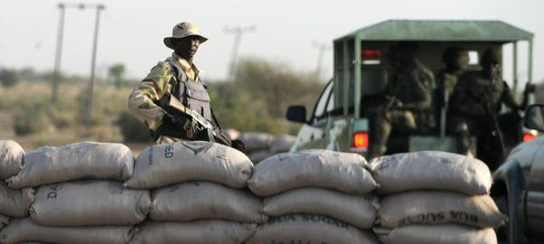 Soldiers at checkpoint