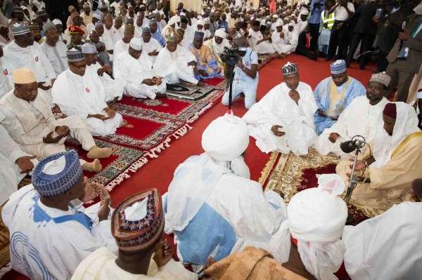 President Muhammadu Buhari (2nd, L) and other dignitaries at the wedding between Ahmed Indimi and Zhara Buhari at the wedding ceremony of the President's daughter in Abuja on Friday (16/12/16). 91510/16/12/2016/BJO/NAN