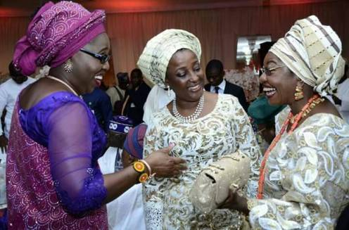 Wife of Ondo state Governor, Chief Mrs Betty Anyanwu - Akeredolu (left), wife of Edo state Governor, Mrs Betsy Obaseki (middle), during the engagement ceremony of Efuntoun Olayinka Osoba, the daughter of former Governor of Ogun state, Chief Olusegun Osoba to Adegboyega Apata in Lagos, at weekend.
