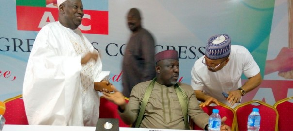 APC Governors, Abdullahi Ganduje and Rochas Okorocha at the meeting with APC NWC