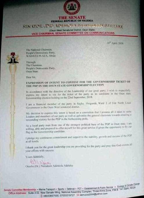 Senator Ademola Adeleke's intention letter to the Nigerian Senate
