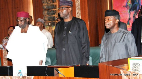 From left: Chief of Staff, Alhaji Abba Kyari; Secretary to the Government of the Federation, Mr Boss Mustapha and Vice President Yemi Osinbajo at the Federal Executive Council Meeting in Abuja on Wednesday (11/4/18) 01962/11/4/2008/Callistus Ewelike/NAN Pic 2. APC Chieftain in Adamawa State, Alhaji Musa Ahmed; Minister of Education, Malam Adamu Adamu; Chief of Army Staff, Lt.-Gen Tukur Buratai and other senior Army Officers Osinbajo at the Federal Executive Council Meeting in Abuja on Wednesday (11/4/18) 01963/11/4/2008/Callistus Ewelike/NAN Pic 3. Minister of State for Petroleum, Dr Ibe Kachikwu (r) with the Minister of Finace, Mrs Kemi Adeosun at the Federal Executive Council Meeting in Abuja on Wednesday (11/4/18) 01964/11/4/2008/Callistus Ewelike/NAN Pic 4. From left: Minister of Justice, Abubakar Malami (SAN); Minister of Agriculture, Chief Audu Ogbeh; Minister of State for Agriculture, Sen Heineken Lokpobiri; Minister of Budget and National Planning, Sen Udoma Udo Udoma and Minister of State for Budget and National Planning, Hajiya Zainab Ahmed at the Federal Executive Council Meeting in Abuja on Wednesday (11/4/18) 01965/11/4/2008/Callistus Ewelike/NAN