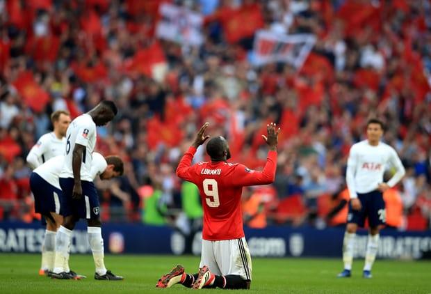 Romelu Lukaku celebrates at the final whistle. Photograph: Adam Davy/PA