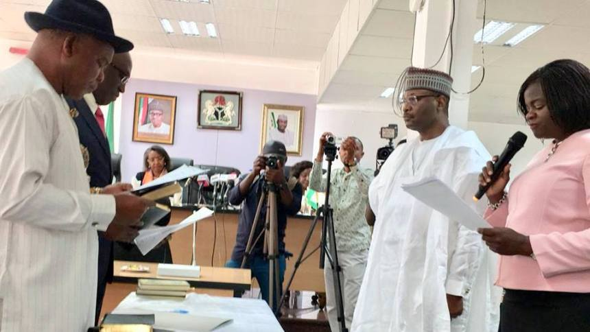 Swearing-In of the 7 Newly appointed Resident Electoral Commissioners @ the INEC Conference Hall, INEC HQ Abuja (Photo Credit: INEC Nigeria on Facebook)