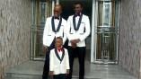 The Akwa Ibom Speaker, Onofiok Luke (left) poses for photo with the groom, Kufre Okon, before departing to wedding venue (1)