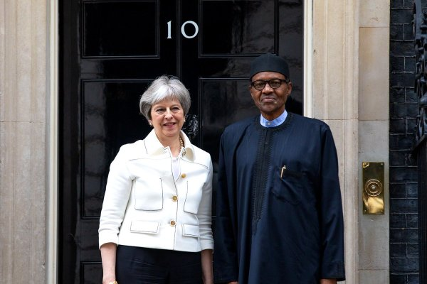 Theresa May and Muhammadu Buhari at 10, Downing Street, London [Photo: Bashir Ahmad]