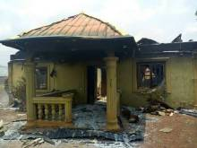 One of the buildings set ablaze by soldiers in Benue community