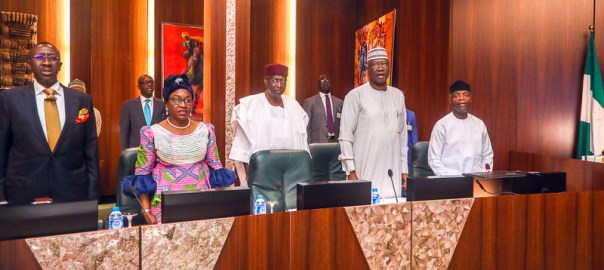 Vice President Yemi Osinbajo; SGF, Mr Boss Mustapha; Chief of Staff, Malam Abba Kyari and Head of Civil Service of the Federation, Mrs. Winifred Oyo-Ita; NSA Major Gen. Babagana Monguno Rtd; during FEC Meeting held at the Council Chambers, Abuja.