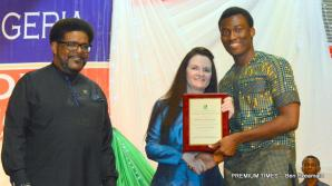 Fatima Abubakar receiving the award for the best graduating student in Economics