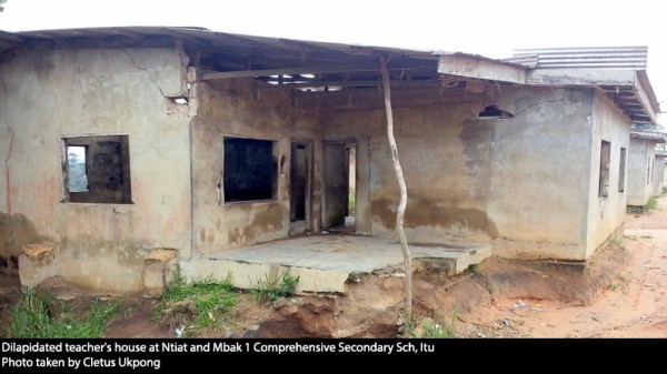 Dilapidated teacher's house at Ntiat and Mbak 1 Comprehensive Secondary Sch, Itu