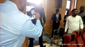 Former Peoples Democratic Party, spokesperson, Olisa Metuh on the floor.