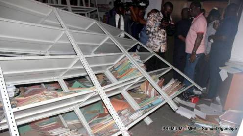 Damaged Areas of State High Court Complex on Friday.