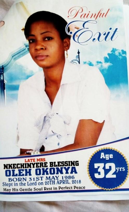 Late Mrs Nkechi Okonya's Obituary.
