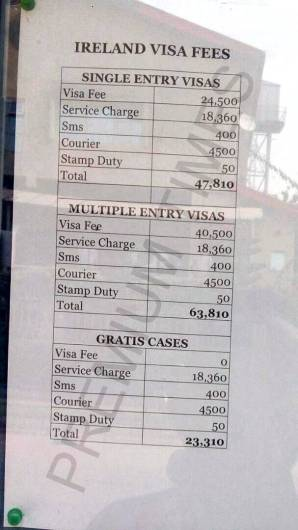Ireland visa fees and service charges on VFS information Board.