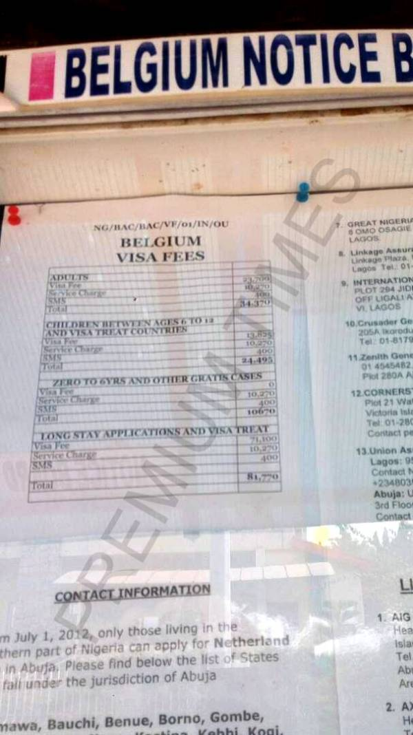 Belgium visa fees and service charges on VFS information Board.