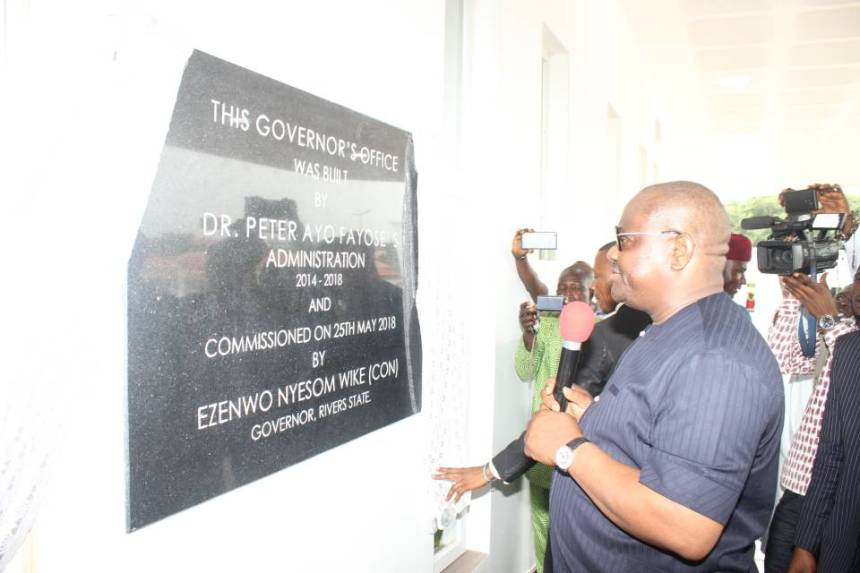 Governor Nyesom Wike commissioning the Ekiti State Governor's office