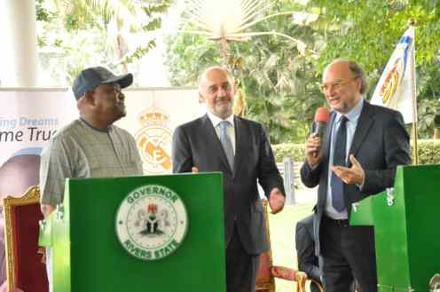 L-R: Rivers State Governor, Nyesom Ezenwo Wike, Ambassador of Real Madrid, Ricardo Gallego and President, International Sports Press Association, Gianni Merlo during the Press Conference to flag off the construction of the Real Madrid Football Academy in Port Harcourt on Monday at the Government House Port Harcourt