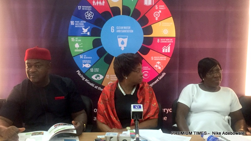 From L - R The Head, Health Promotion Division, National Primary Health Care Development Agency, Chris Elemuwa, Country Director WaterAid, ChiChi Okoye and the deputy head of WASH department, Action Against Hunger, Patricia Obroh during a Media chat to mark the 2018 Menstrual Hygiene Day