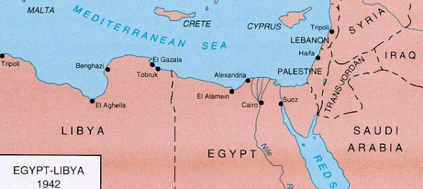 Map showing Libya and Egypt