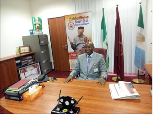Omo-Agege in his office Wednesday morning