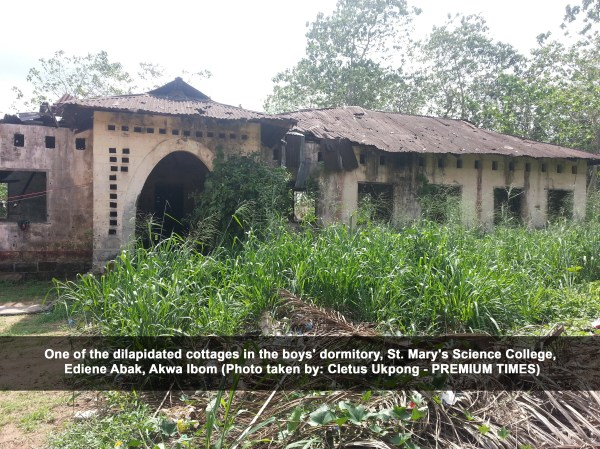 One of the dilapidated cottages in the boys' dormitory, St. Mary's Science College, Ediene Abak, Akwa Ibom (Cletus Ukpong)