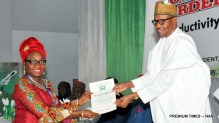 President Muhammadu Buhari (r) presenting an award to the Head of the Civil Service of the Federation, Mrs Winnifre Oyo-Ita, during the 17th National Productivity Day celebration and conferment of National Productivity Order of Merit Award in Abuja on Tuesday (22/5/17) 02688/22/5/2018/Callistus Ewelike/BJO/NAN