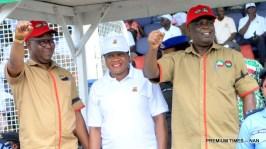 From left: Chairman, Trade Union Congress Oyo State, Comrade Olusola Ogundiran, Oyo State Head of Service, Mrs Hannah Ogunesan and Chairman, Nigeria Labour Congress, Oyo State, Comrade Wale Olojede at the 2018 May Day celebration in Ibadan on Tuesday (1/5/18) 02260/1/5/18/Timothy Adeogodiran/NAN